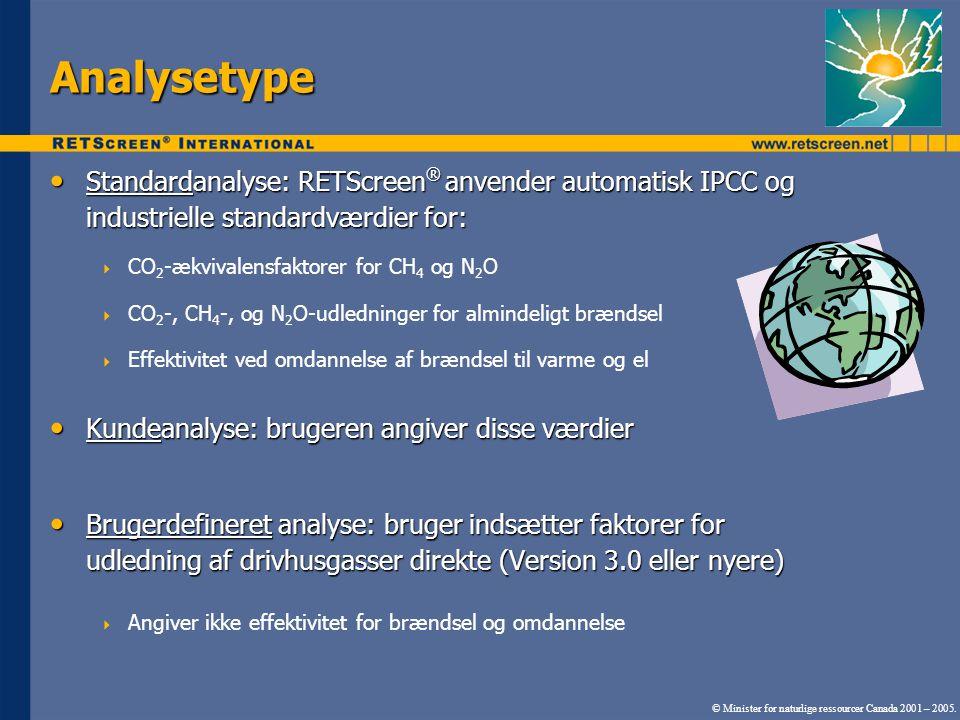 Analysetype Standardanalyse: RETScreen ® anvender automatisk IPCC og industrielle standardværdier for: Standardanalyse: RETScreen ® anvender automatisk IPCC og industrielle standardværdier for:  CO 2 -ækvivalensfaktorer for CH 4 og N 2 O  CO 2 -, CH 4 -, og N 2 O-udledninger for almindeligt brændsel  Effektivitet ved omdannelse af brændsel til varme og el Kundeanalyse: brugeren angiver disse værdier Kundeanalyse: brugeren angiver disse værdier Brugerdefineret analyse: bruger indsætter faktorer for udledning af drivhusgasser direkte (Version 3.0 eller nyere) Brugerdefineret analyse: bruger indsætter faktorer for udledning af drivhusgasser direkte (Version 3.0 eller nyere)  Angiver ikke effektivitet for brændsel og omdannelse © Minister for naturlige ressourcer Canada 2001 – 2005.