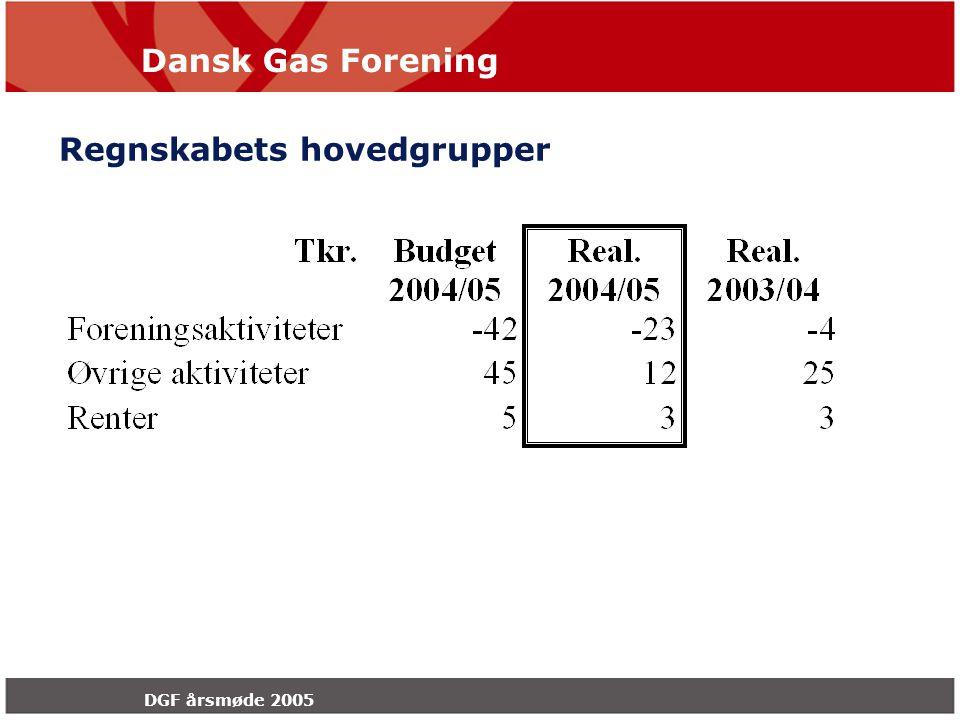 Dansk Gas Forening DGF årsmøde 2005 Regnskabets hovedgrupper