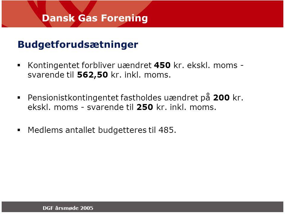 Dansk Gas Forening DGF årsmøde 2005 Budgetforudsætninger  Kontingentet forbliver uændret 450 kr.