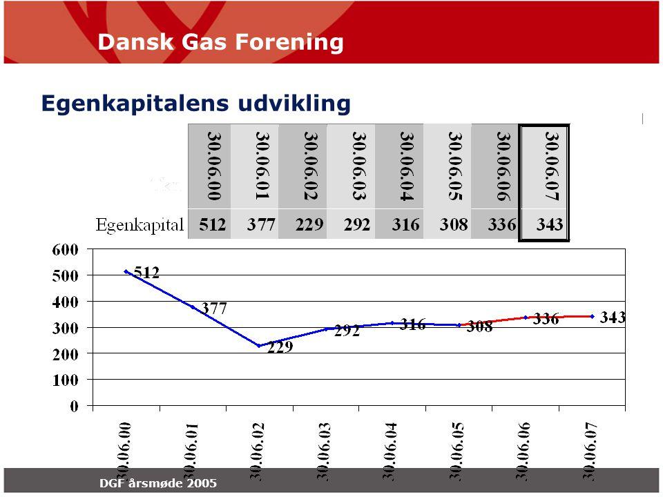 Dansk Gas Forening DGF årsmøde 2005 Egenkapitalens udvikling