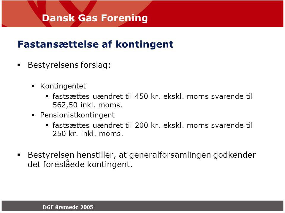 Dansk Gas Forening DGF årsmøde 2005 Fastansættelse af kontingent  Bestyrelsens forslag:  Kontingentet  fastsættes uændret til 450 kr.