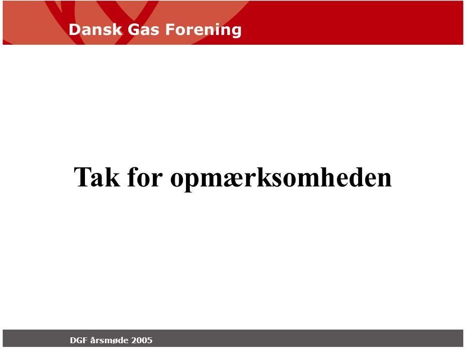 Dansk Gas Forening DGF årsmøde 2005 Tak for opmærksomheden