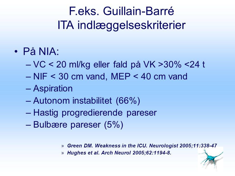 F.eks. Guillain-Barré ITA indlæggelseskriterier På NIA: –VC 30% <24 t –NIF < 30 cm vand, MEP < 40 cm vand –Aspiration –Autonom instabilitet (66%) –Has
