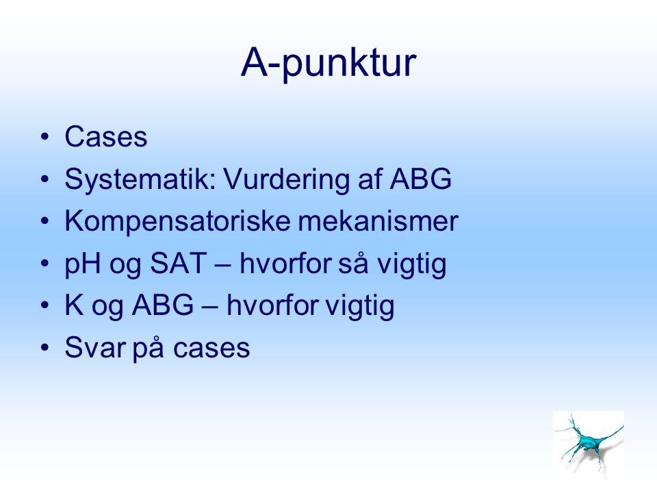 A-punktur Cases Systematik: Vurdering af ABG Kompensatoriske mekanismer pH og SAT – hvorfor så vigtig K og ABG – hvorfor vigtig Svar på cases
