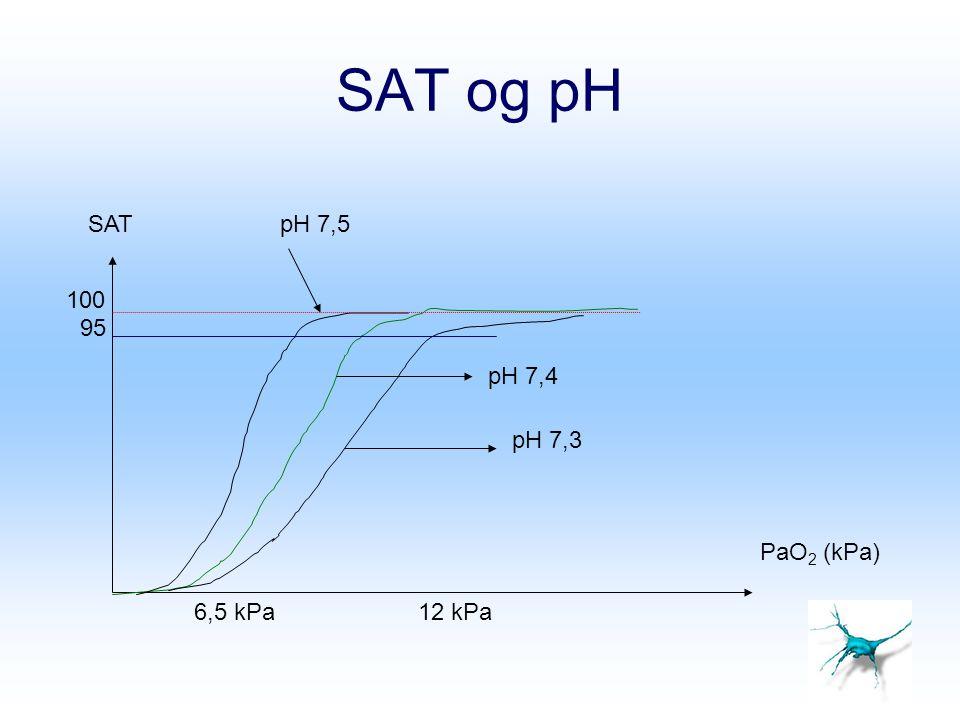 SAT og pH 95 SAT PaO 2 (kPa) 12 kPa6,5 kPa pH 7,4 pH 7,3 pH 7,5 100