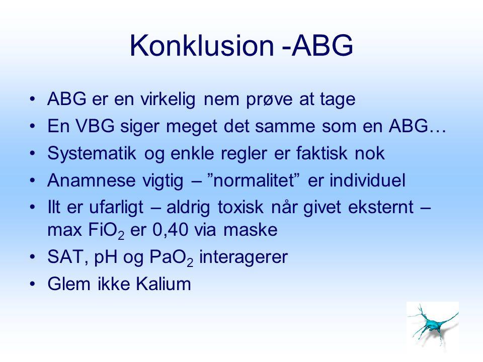 Konklusion -ABG ABG er en virkelig nem prøve at tage En VBG siger meget det samme som en ABG… Systematik og enkle regler er faktisk nok Anamnese vigti