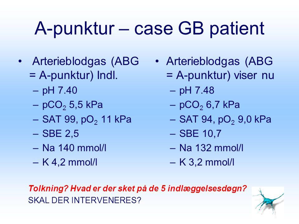 A-punktur – case GB patient Arterieblodgas (ABG = A-punktur) Indl. –pH 7.40 –pCO 2 5,5 kPa –SAT 99, pO 2 11 kPa –SBE 2,5 –Na 140 mmol/l –K 4,2 mmol/l