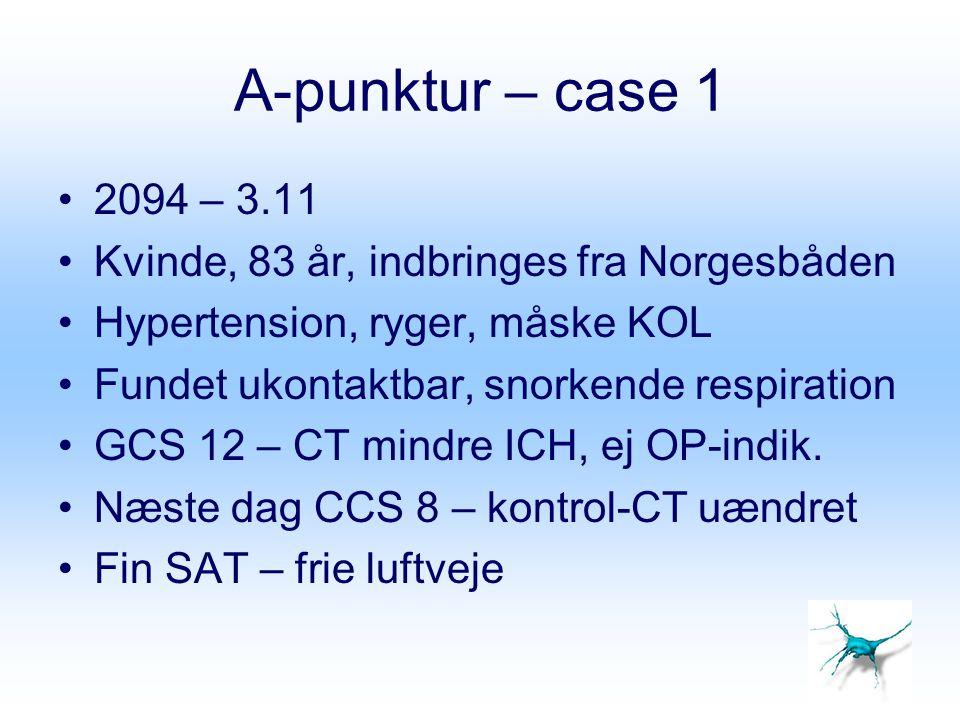 A-punktur – case 1 Arterieblodgas (ABG = A-punktur) viser –pH 7.33 –pCO 2 9,8 kPa –SAT 96 –pO 2 11 kPa –SBE 0,6 –Na 136 mmol/l –K 3,8 mmol/l Tolkning?