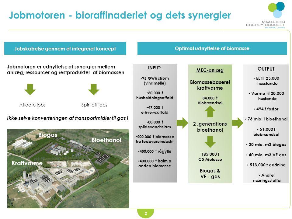 2 Jobskabelse gennem et integreret koncept Optimal udnyttelse af biomasse Jobmotoren er udnyttelse af synergier mellem anlæg, ressourcer og restprodukter af biomassen Afledte jobs Spin off jobs Ikke selve konverteringen af transportmidler til gas .
