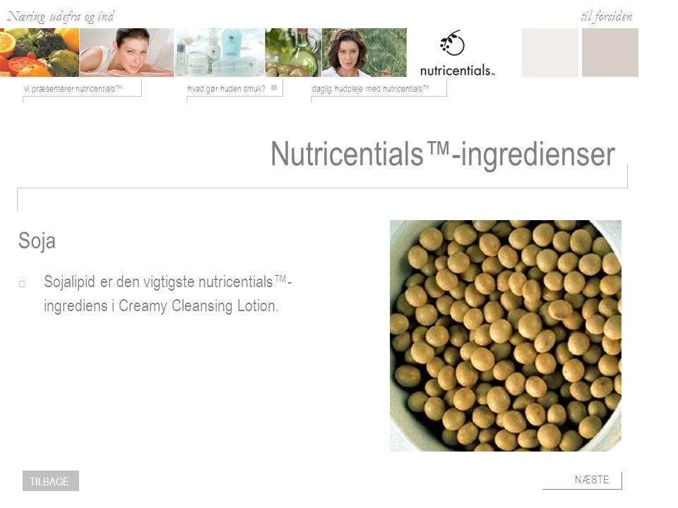 Næring udefra og ind hvad gør huden smuk daglig hudpleje med nutricentials™vi præsenterer nutricentials™ til forsiden NÆSTE TILBAGE Soja Nutricentials™-ingredienser  Sojalipid er den vigtigste nutricentials™- ingrediens i Creamy Cleansing Lotion.