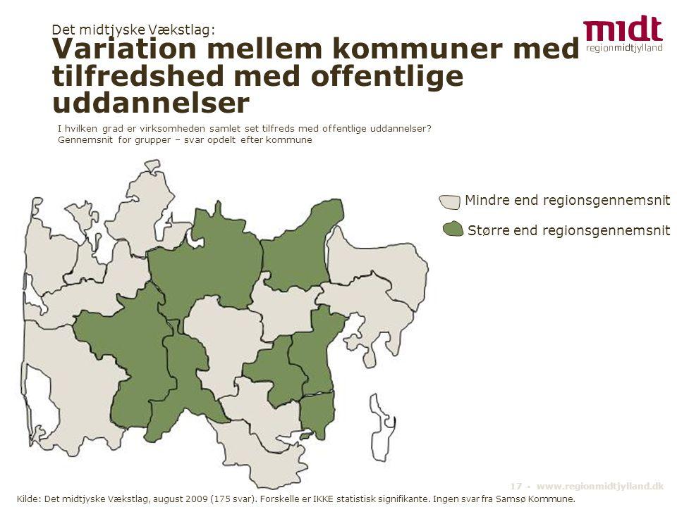 17 ▪ www.regionmidtjylland.dk Det midtjyske Vækstlag: Variation mellem kommuner med tilfredshed med offentlige uddannelser Kilde: Det midtjyske Vækstlag, august 2009 (175 svar).