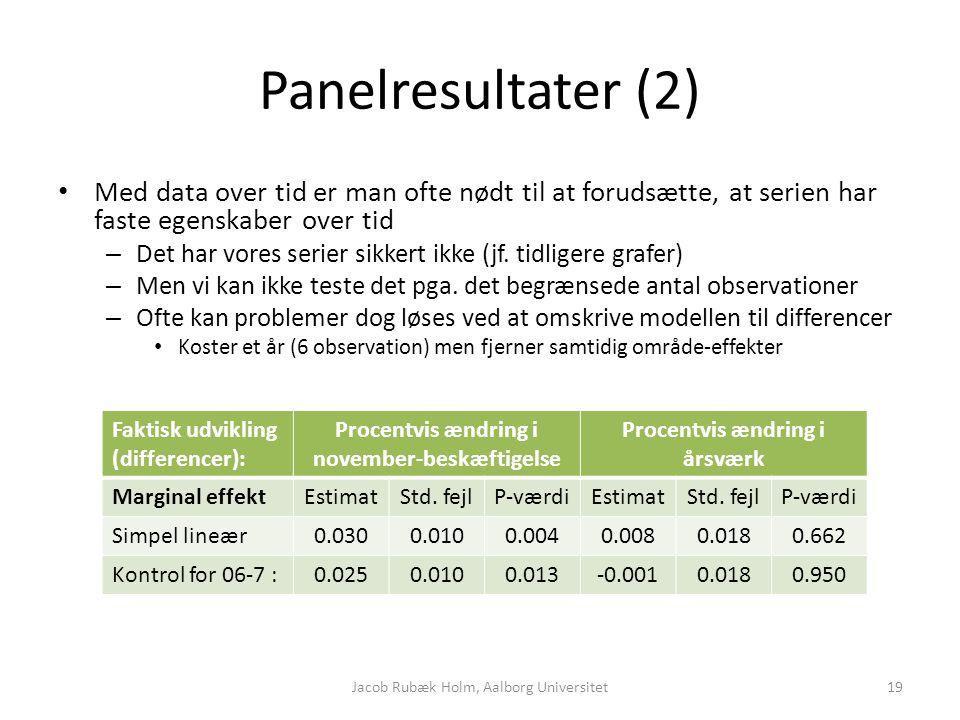 Panelresultater (2) Med data over tid er man ofte nødt til at forudsætte, at serien har faste egenskaber over tid – Det har vores serier sikkert ikke (jf.