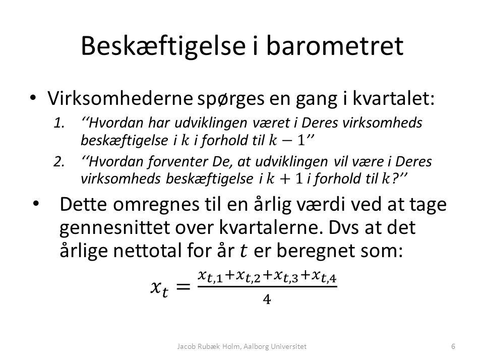 Beskæftigelse i barometret Jacob Rubæk Holm, Aalborg Universitet6
