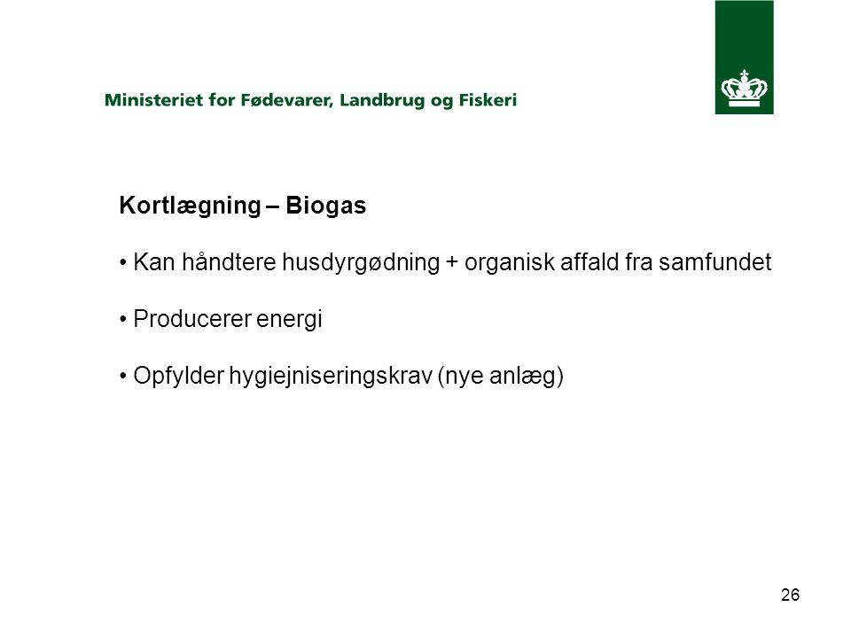 26 Kortlægning – Biogas Kan håndtere husdyrgødning + organisk affald fra samfundet Producerer energi Opfylder hygiejniseringskrav (nye anlæg)