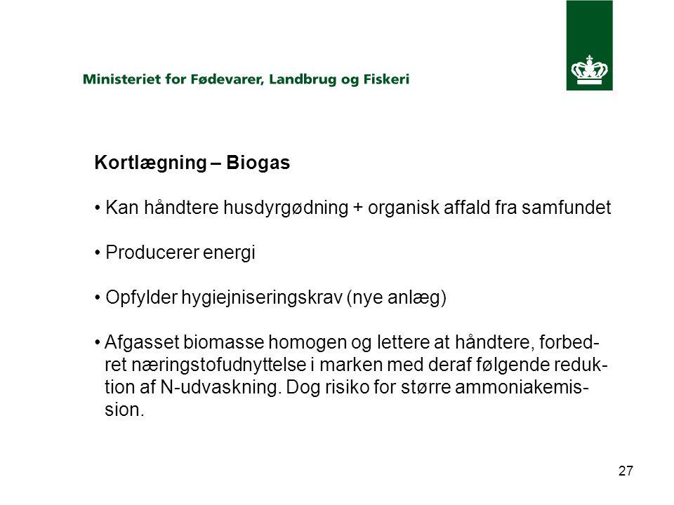 27 Kortlægning – Biogas Kan håndtere husdyrgødning + organisk affald fra samfundet Producerer energi Opfylder hygiejniseringskrav (nye anlæg) Afgasset biomasse homogen og lettere at håndtere, forbed- ret næringstofudnyttelse i marken med deraf følgende reduk- tion af N-udvaskning.
