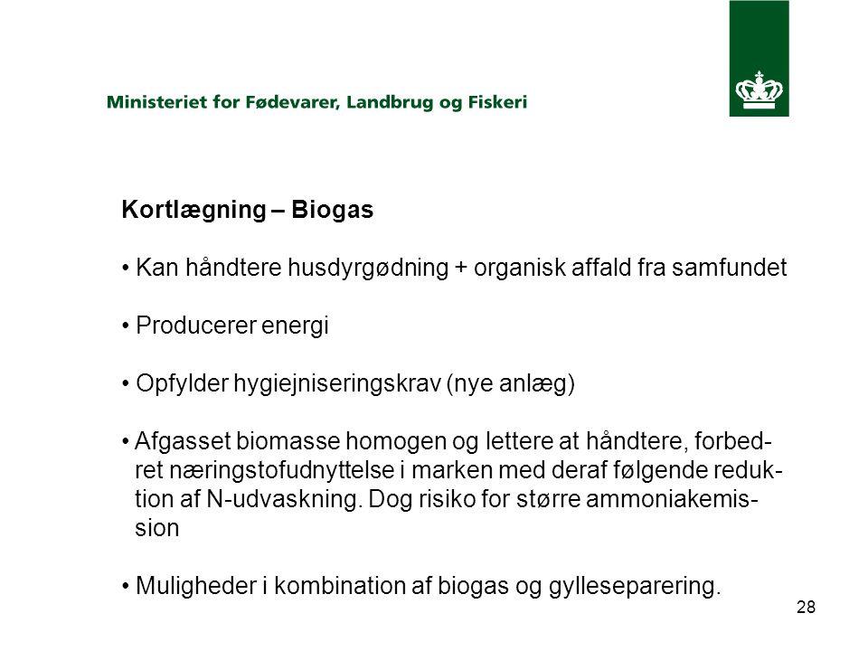 28 Kortlægning – Biogas Kan håndtere husdyrgødning + organisk affald fra samfundet Producerer energi Opfylder hygiejniseringskrav (nye anlæg) Afgasset biomasse homogen og lettere at håndtere, forbed- ret næringstofudnyttelse i marken med deraf følgende reduk- tion af N-udvaskning.