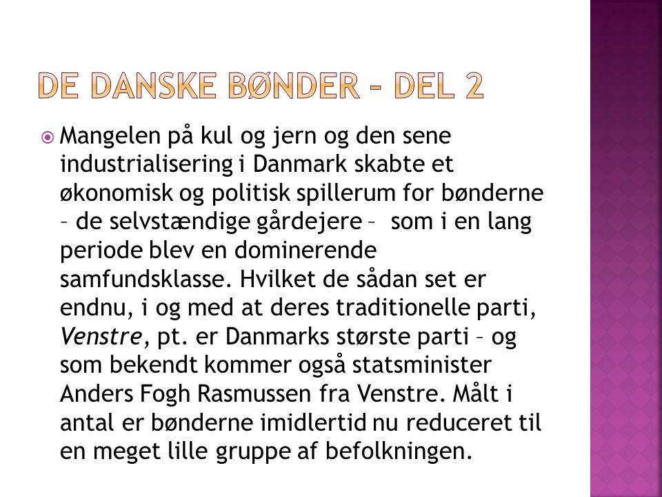  Mangelen på kul og jern og den sene industrialisering i Danmark skabte et økonomisk og politisk spillerum for bønderne – de selvstændige gårdejere – som i en lang periode blev en dominerende samfundsklasse.