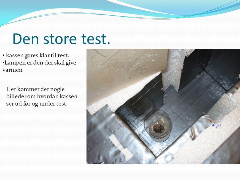 Den store test. kassen gøres klar til test.