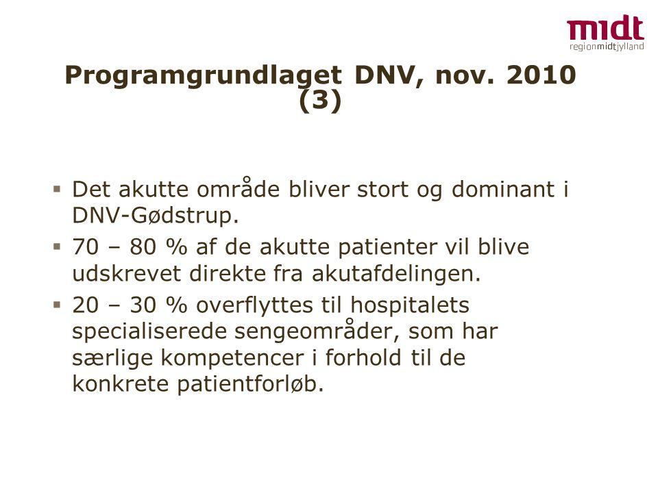 Programgrundlaget DNV, nov. 2010 (3)  Det akutte område bliver stort og dominant i DNV-Gødstrup.