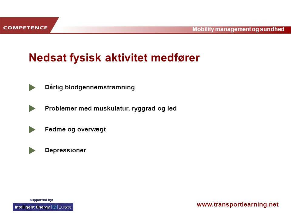 www.transportlearning.net Mobility management og sundhed Dårlig blodgennemstrømning Problemer med muskulatur, ryggrad og led Fedme og overvægt Depressioner Nedsat fysisk aktivitet medfører