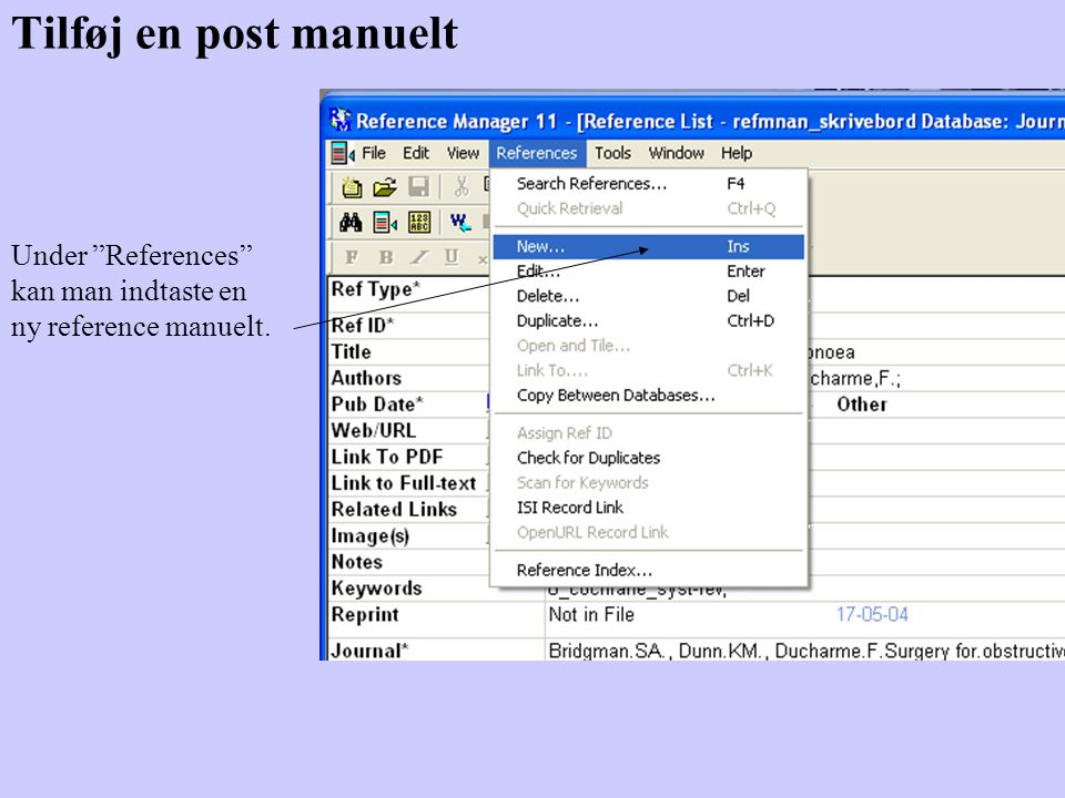 Tilføj en post manuelt Under References kan man indtaste en ny reference manuelt.