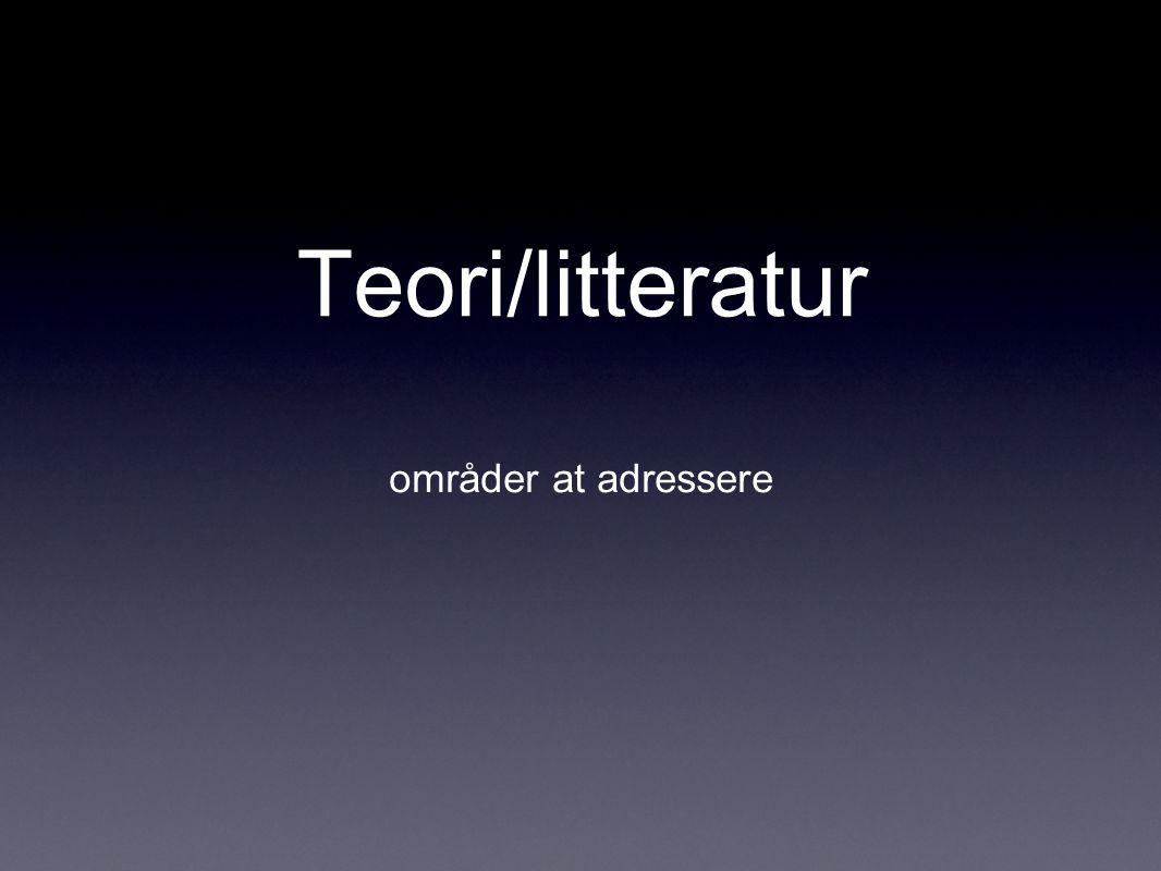 Teori/litteratur områder at adressere