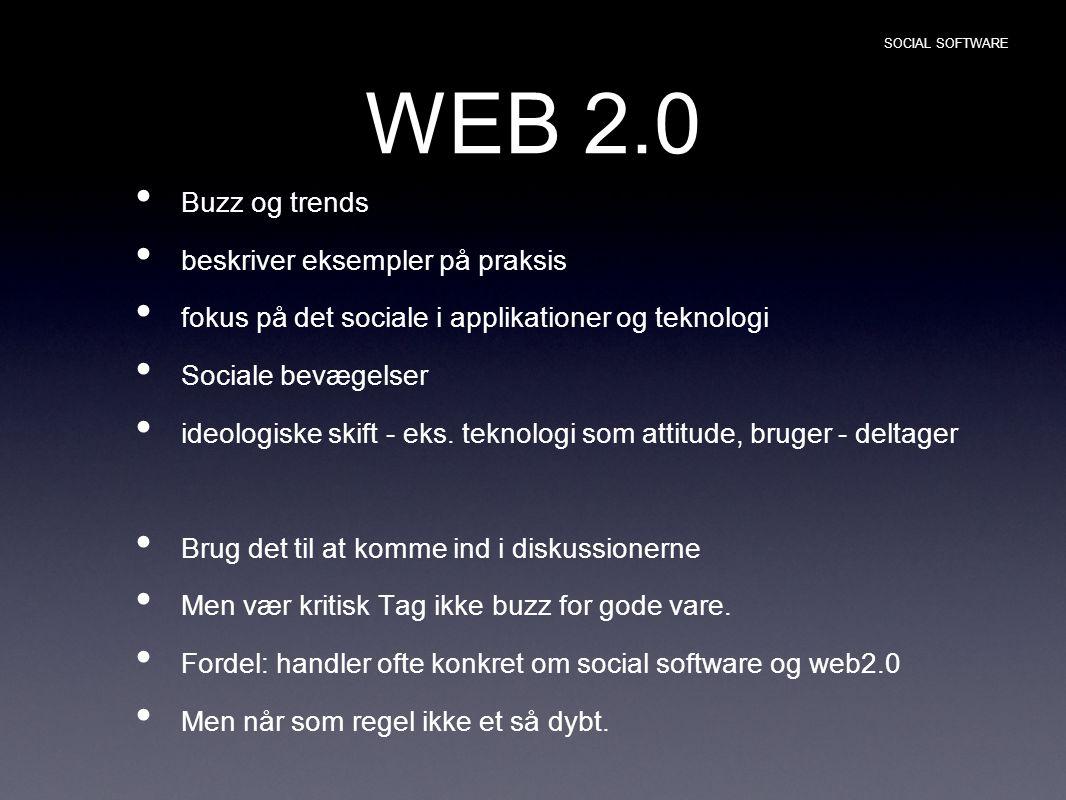 WEB 2.0 Buzz og trends beskriver eksempler på praksis fokus på det sociale i applikationer og teknologi Sociale bevægelser ideologiske skift - eks.