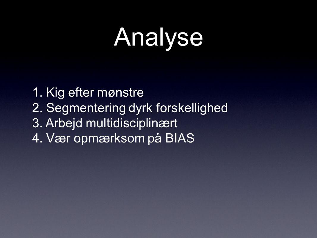 Analyse 1. Kig efter mønstre 2. Segmentering dyrk forskellighed 3.