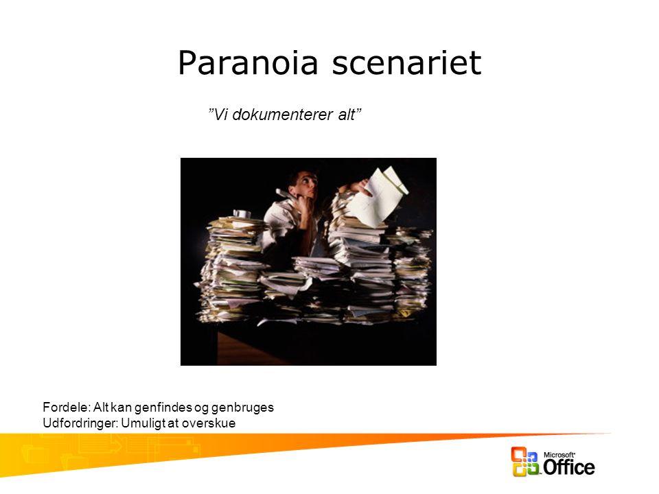 Paranoia scenariet Vi dokumenterer alt Fordele: Alt kan genfindes og genbruges Udfordringer: Umuligt at overskue