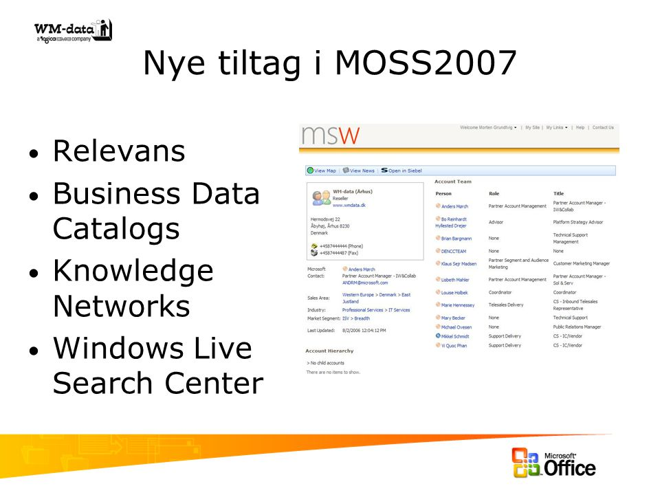Nye tiltag i MOSS2007 Relevans Business Data Catalogs Knowledge Networks Windows Live Search Center