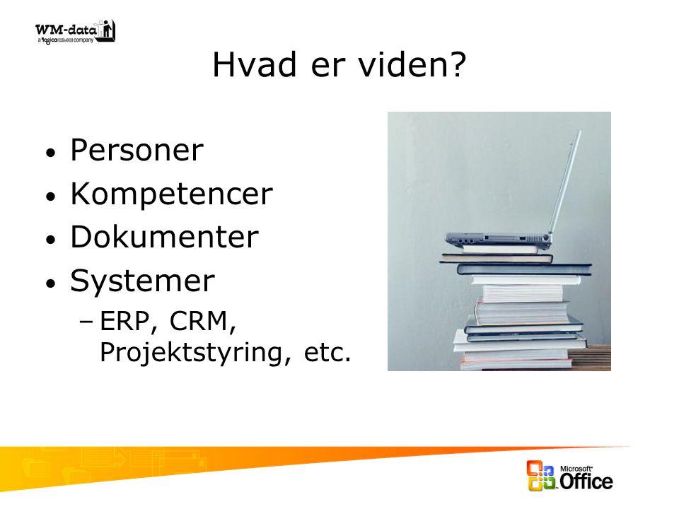 Hvad er viden Personer Kompetencer Dokumenter Systemer –ERP, CRM, Projektstyring, etc.