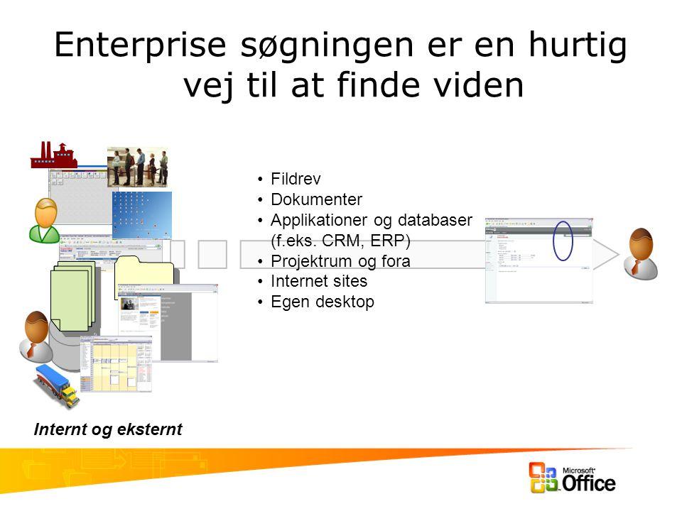 Enterprise søgningen er en hurtig vej til at finde viden Fildrev Dokumenter Applikationer og databaser (f.eks.