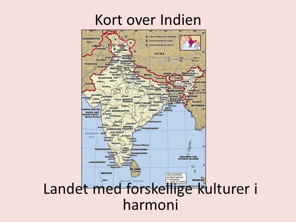 Kort over Indien Landet med forskellige kulturer i harmoni