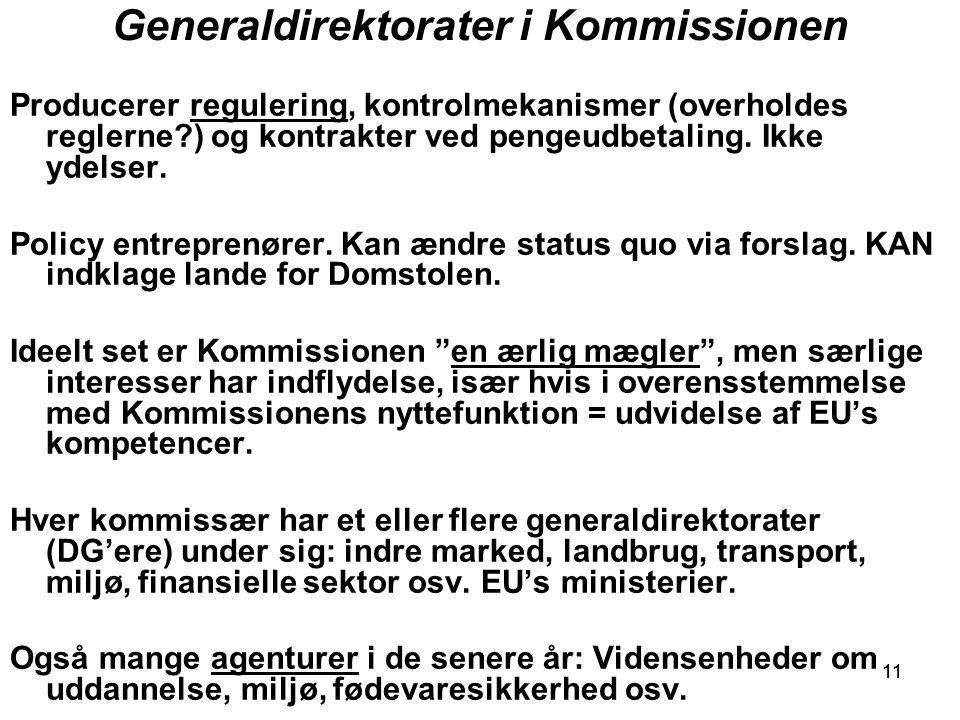 11 Generaldirektorater i Kommissionen Producerer regulering, kontrolmekanismer (overholdes reglerne ) og kontrakter ved pengeudbetaling.