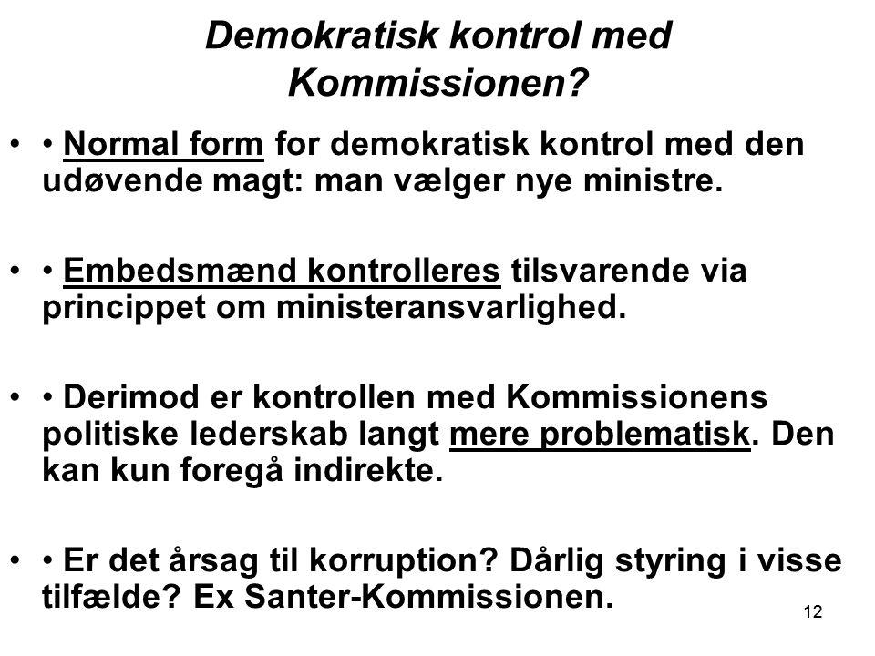 12 Demokratisk kontrol med Kommissionen.
