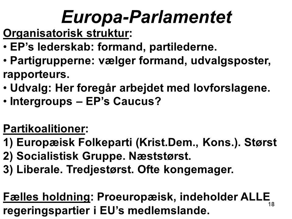 18 Europa-Parlamentet 18 Organisatorisk struktur: EP's lederskab: formand, partilederne.