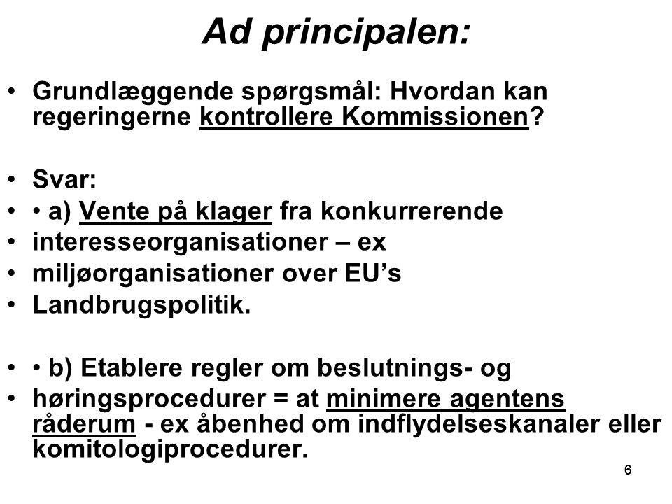 66 Ad principalen: Grundlæggende spørgsmål: Hvordan kan regeringerne kontrollere Kommissionen.