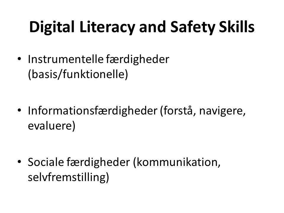 Digital Literacy and Safety Skills Instrumentelle færdigheder (basis/funktionelle) Informationsfærdigheder (forstå, navigere, evaluere) Sociale færdigheder (kommunikation, selvfremstilling)