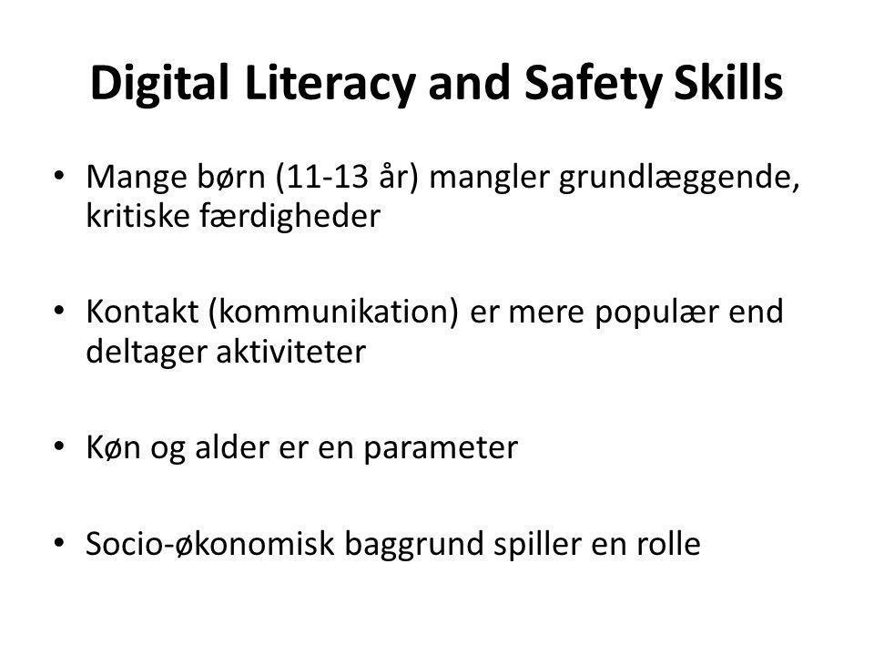 Digital Literacy and Safety Skills Mange børn (11-13 år) mangler grundlæggende, kritiske færdigheder Kontakt (kommunikation) er mere populær end deltager aktiviteter Køn og alder er en parameter Socio-økonomisk baggrund spiller en rolle