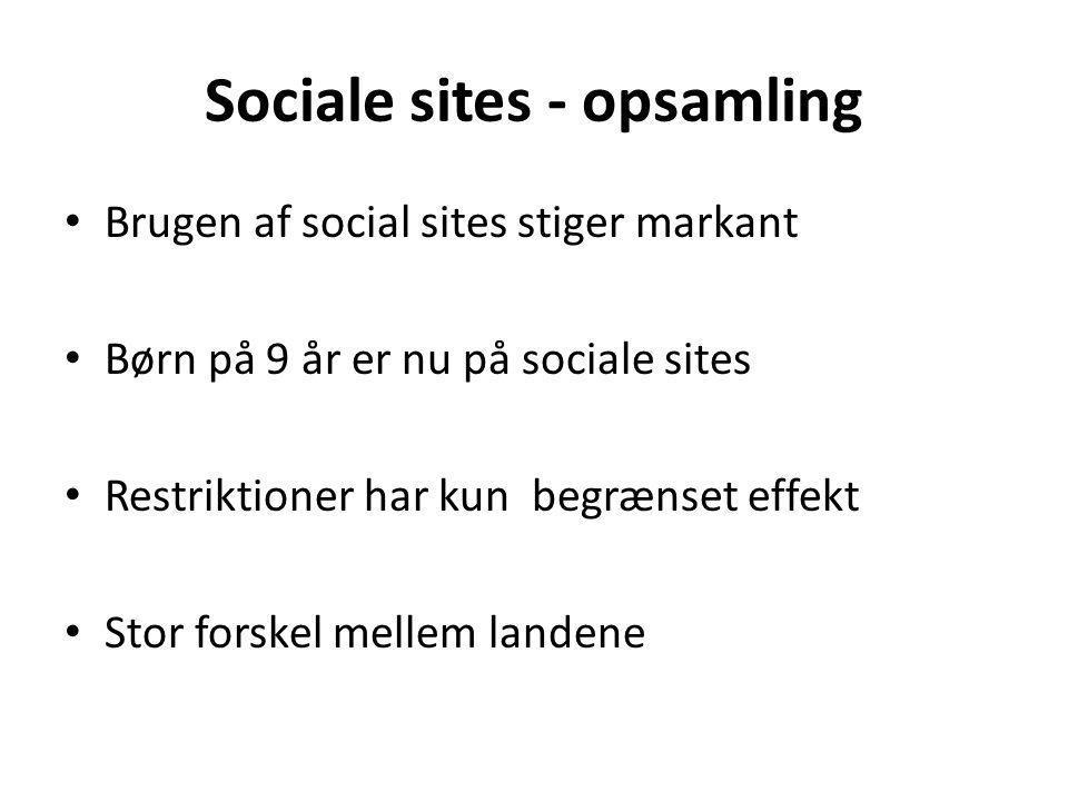 Sociale sites - opsamling Brugen af social sites stiger markant Børn på 9 år er nu på sociale sites Restriktioner har kun begrænset effekt Stor forskel mellem landene