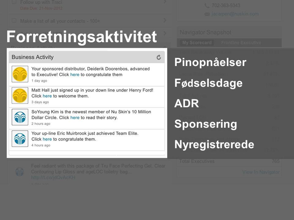 Forretningsaktivitet Pinopnåelser F ød selsdage ADR Sponsering Nyregistrerede