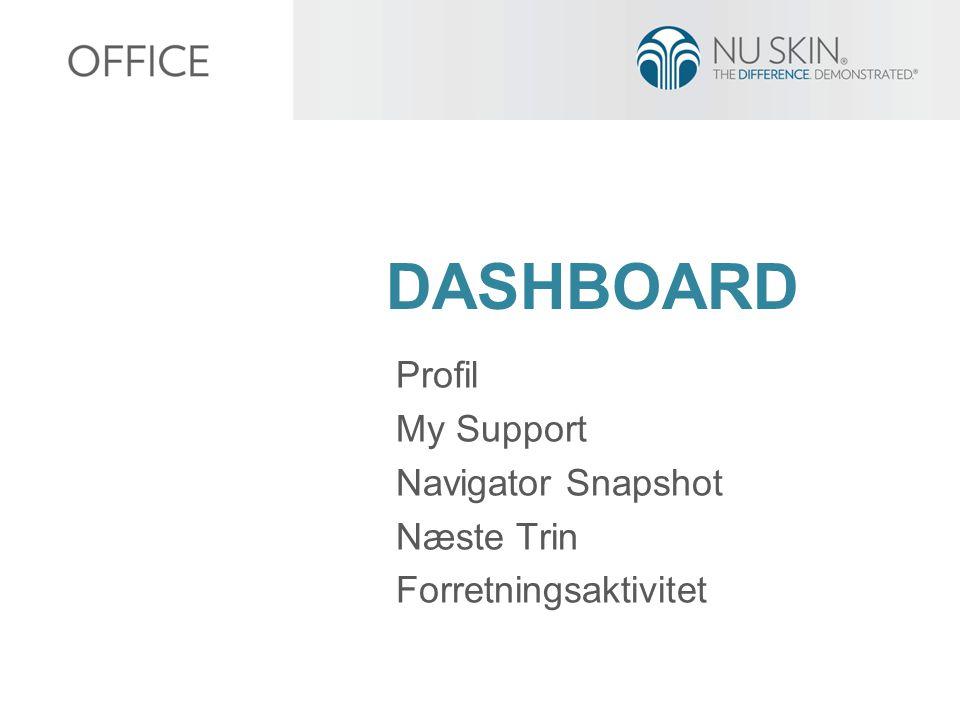 DASHBOARD Profil My Support Navigator Snapshot Næste Trin Forretningsaktivitet