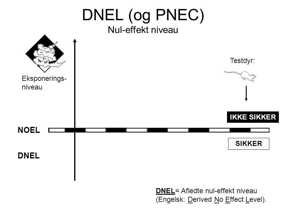 Eksponerings- niveau IKKE SIKKER SIKKER DNEL DNEL= Afledte nul-effekt niveau (Engelsk: Derived No Effect Level).