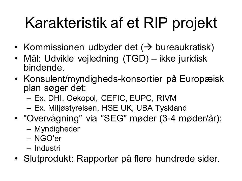 Karakteristik af et RIP projekt Kommissionen udbyder det (  bureaukratisk) Mål: Udvikle vejledning (TGD) – ikke juridisk bindende.