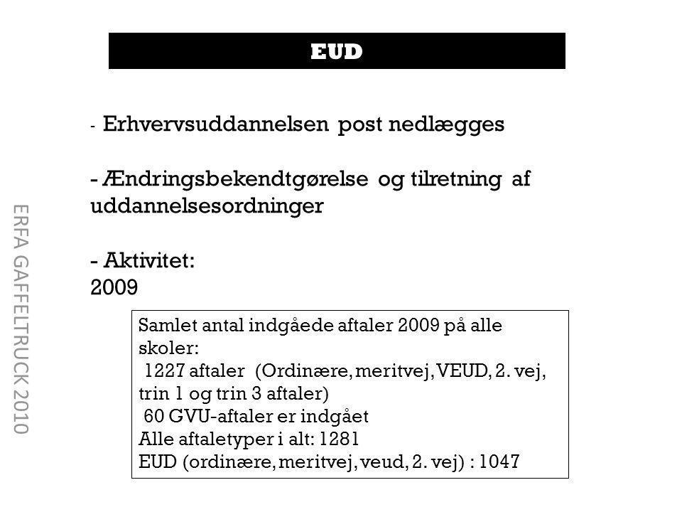 EUD - Erhvervsuddannelsen post nedlægges - Ændringsbekendtgørelse og tilretning af uddannelsesordninger - Aktivitet: 2009 Samlet antal indgåede aftaler 2009 på alle skoler: 1227 aftaler (Ordinære, meritvej, VEUD, 2.