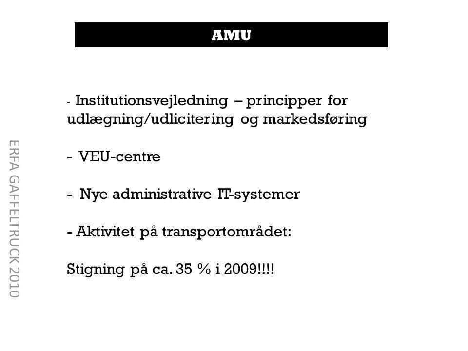 - Institutionsvejledning – principper for udlægning/udlicitering og markedsføring - VEU-centre - Nye administrative IT-systemer - Aktivitet på transportområdet: Stigning på ca.