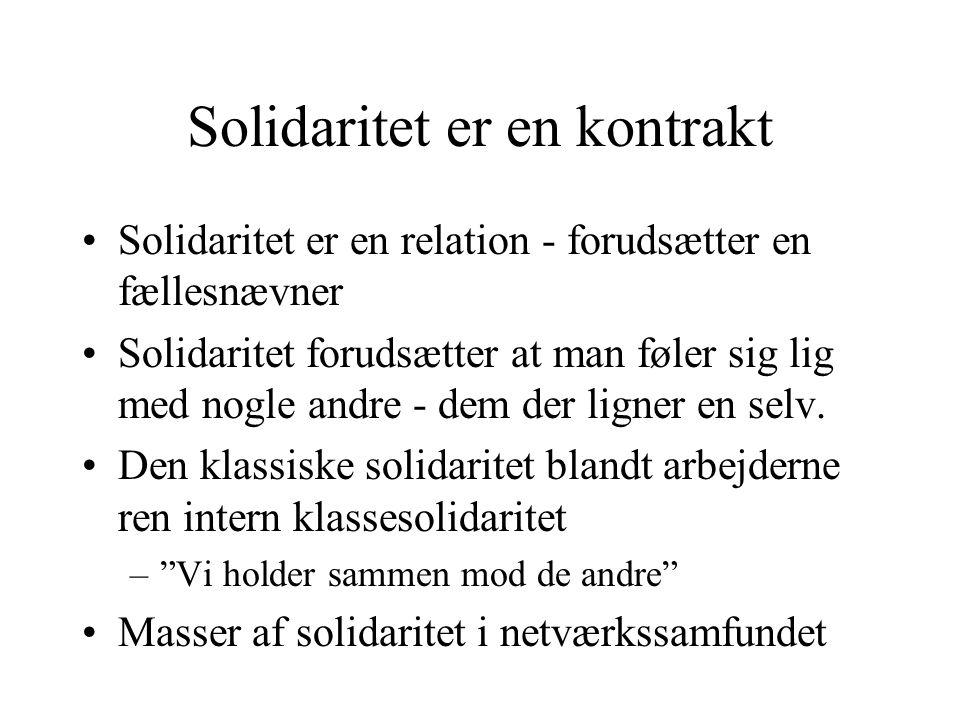 Solidaritet er en kontrakt Solidaritet er en relation - forudsætter en fællesnævner Solidaritet forudsætter at man føler sig lig med nogle andre - dem der ligner en selv.