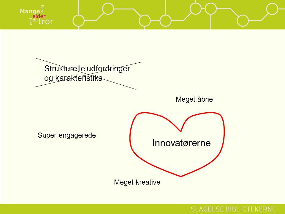 Strukturelle udfordringer og karakteristika Innovatørerne Meget åbne Super engagerede Meget kreative