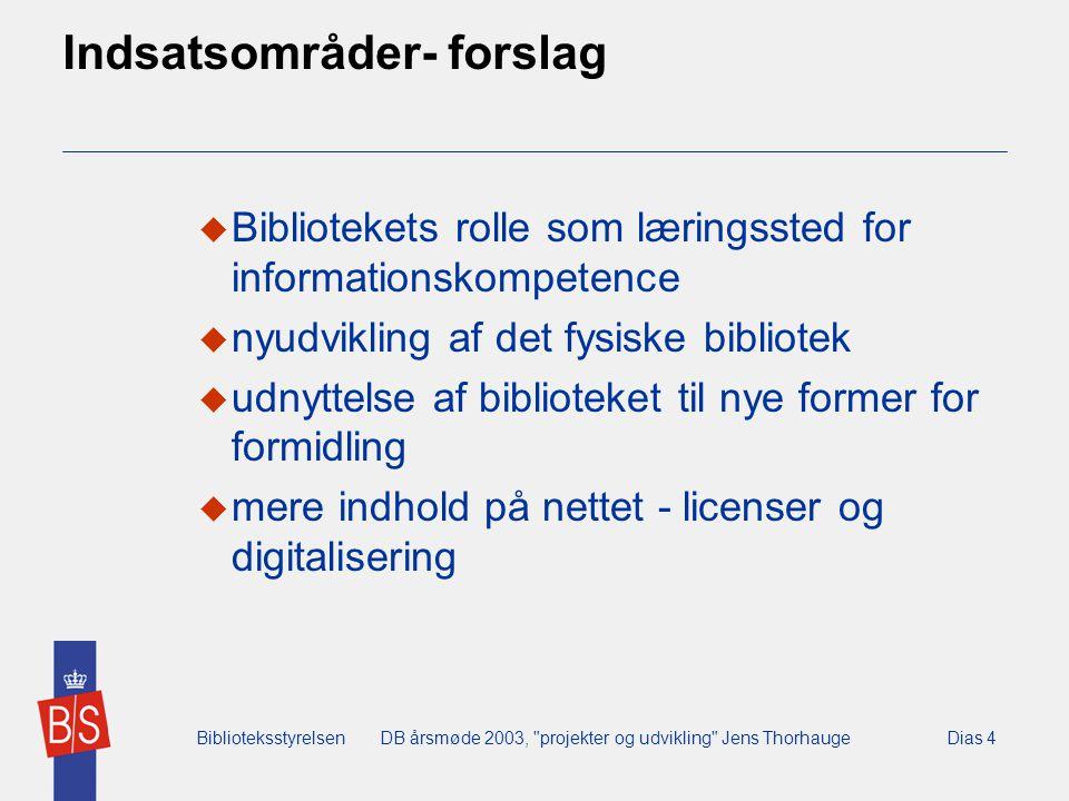 BiblioteksstyrelsenDB årsmøde 2003, projekter og udvikling Jens ThorhaugeDias 4 Indsatsområder- forslag  Bibliotekets rolle som læringssted for informationskompetence  nyudvikling af det fysiske bibliotek  udnyttelse af biblioteket til nye former for formidling  mere indhold på nettet - licenser og digitalisering