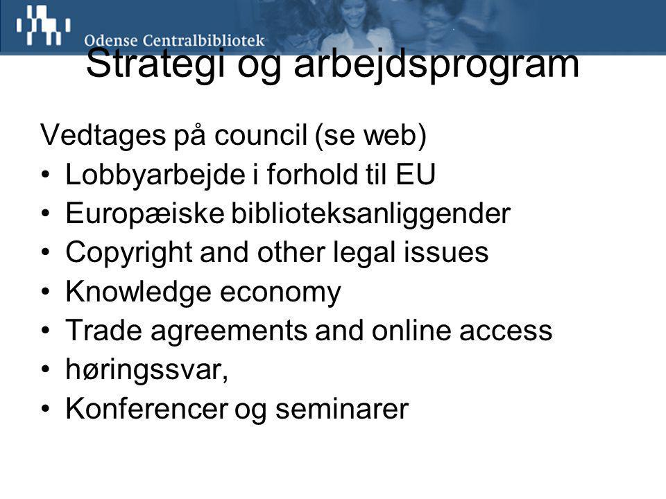 Strategi og arbejdsprogram Vedtages på council (se web) Lobbyarbejde i forhold til EU Europæiske biblioteksanliggender Copyright and other legal issues Knowledge economy Trade agreements and online access høringssvar, Konferencer og seminarer